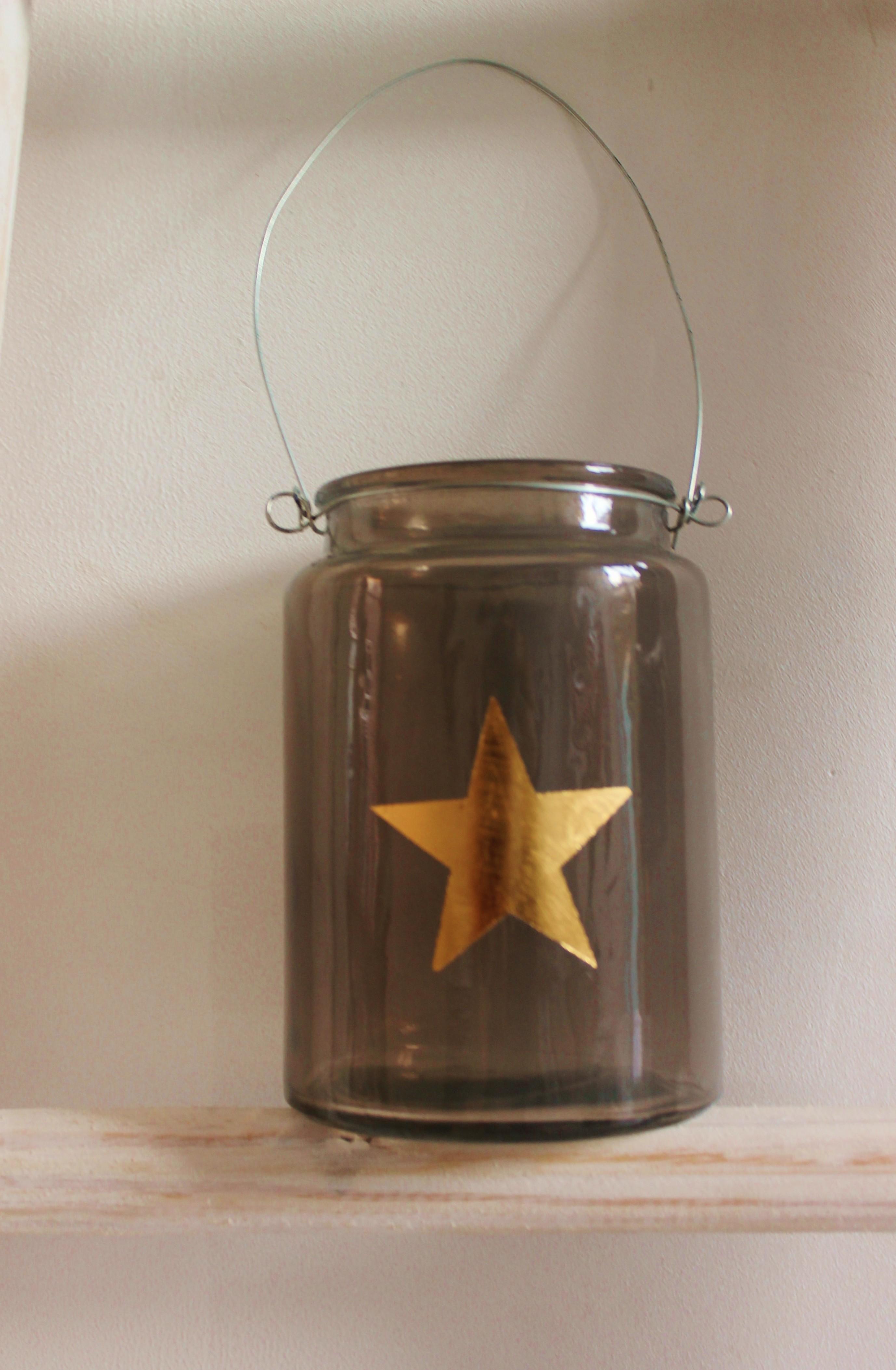 windlicht grey  met gouden ster