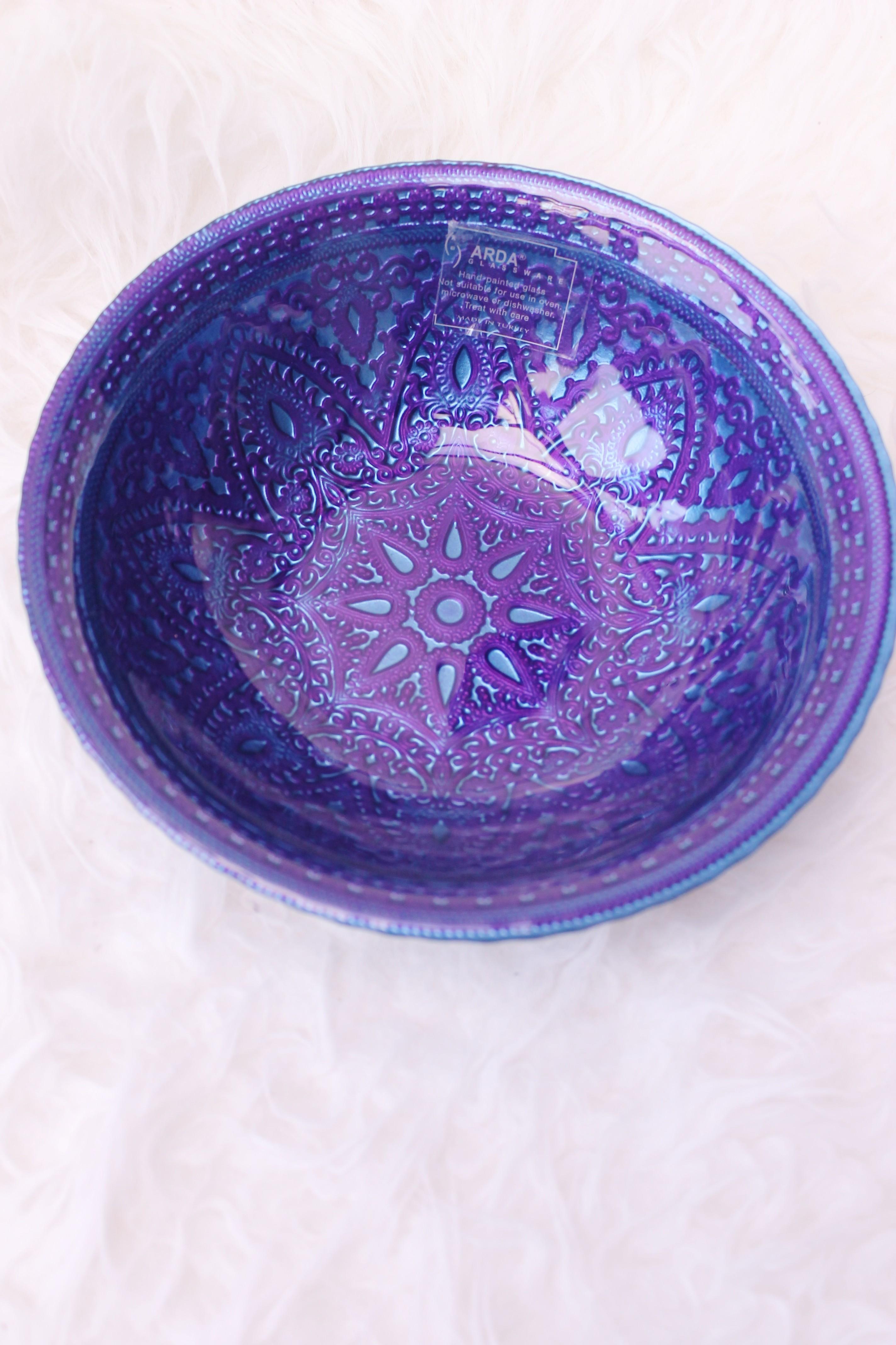 Schaal handgeschilderd glas ,paars/blauw